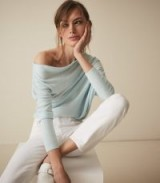Reiss TRUDY WOOL LINEN BLEND ASYMMETRIC TOP AQUA | chic pale-blue knit