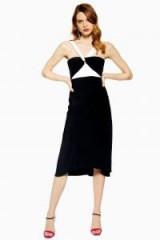 Topshop Twist Halter Neck Midi Dress in monochrome | black and white halterneck frock
