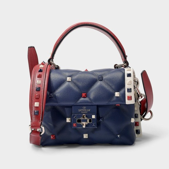 valentino garavani CANDY STUD MINI SHOULDER BAG IN BLUE, RED AND IVORY NAPPA LAMBSKIN – small & chunky - flipped