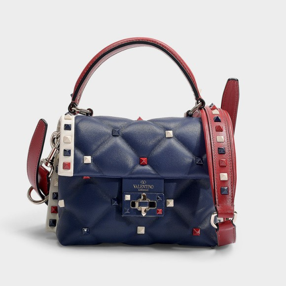 valentino garavani CANDY STUD MINI SHOULDER BAG IN BLUE, RED AND IVORY NAPPA LAMBSKIN – small & chunky