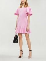 VALENTINO Off-the-shoulder wool and silk-blend mini dress in rose – pink ruffle trim bardot dresses