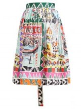 PRADA Venice-print high-rise cotton-poplin midi skirt – multicoloured prints