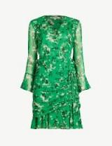 VERONICA BEARD Sean floral-print silk dress in green | summer event fashion