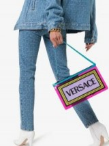 Versace Multicoloured Logo PVC Clutch Bag / colourful bags