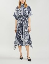 VICTORIA BECKHAM Asymmetric abstract-print silk-crepe midi dress navy / white. MULTI ANIMAL PRINTS