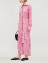 VICTORIA VICTORIA BECKHAM Pink checked cotton and silk-blend dress ~ maxi shirt dresses