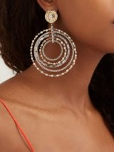 ROSANTICA BY MICHELA PANERO Vinile crystal-embellished clip-on hoop earrings ~ glamorous hoops