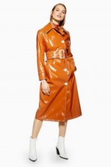 TOPSHOP Vinyl Trench Coat in Toffee / high shine coats
