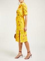 ALTUZARRA Vittoria floral-print silk midi dress in yellow ~ vintage style dresses for spring