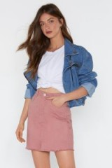 Nasty Gal Wait There Denim Mini Skirt in Pink | frayed hemline skirts