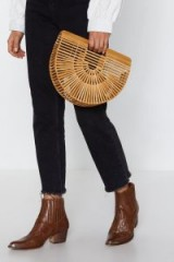 NASTY GAL Just Hold On Wooden Clutch Bag in Natural