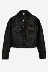 TOPSHOP Western PU Jacket in Black – casual cropped jackets