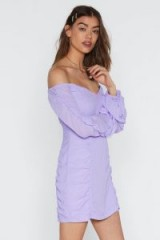 NASTY GAL What's the Ruche Off-the-Shoulder Dress in lilac – light purple bardot dresses