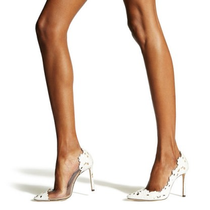 JIMMY CHOO ROMY 100 White and Clear Pointy Toe Pumps in Perforated Lace Fabric and Plexi – spring / summer courts