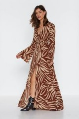 NASTY GAL Without Feather Ado Maxi Dress in tan – long retro dresses
