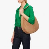 COCCINELLE Alpha Suede Hobo in Desert | large light-brown shoulder bags