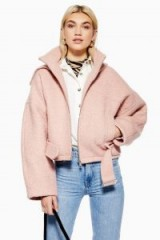 TOPSHOP Wool Rich Hooded Jacket in Pink / belted bomber