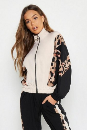 boohoo Woven Leopard Panel Zip Through in Pink ~ glamorous sporty look