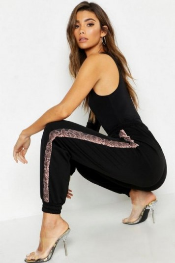 boohoo Woven Snake Side Panel Jogger in Black ~ glamorous joggers ~ casual