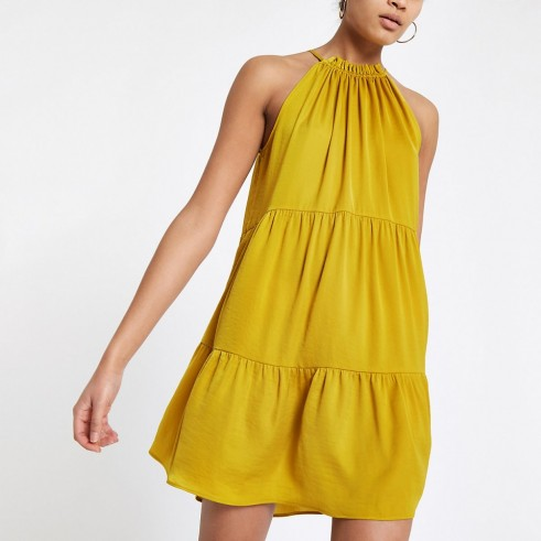 RIVER ISLAND Yellow halter neck slip dress ~ halterneck party dresses