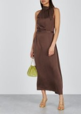 ZIMMERMANN Chocolate halterneck silk dress ~ luxe brown halter dresses