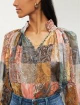 ZIMMERMANN Floral-print silk-chiffon shirt in patchwork paisley
