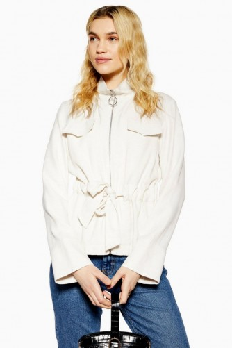 TOPSHOP Zip Belted Jacket in Oatmeal