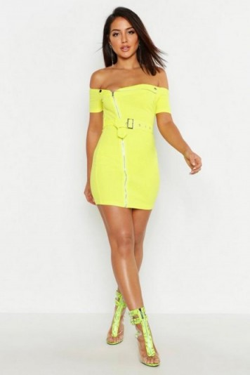 boohoo Zip Front Belted Mini Dress in Lime ~ bright bardot dresses