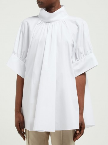 THE ROW Abel gathered stand-collar cotton-poplin blouse in white