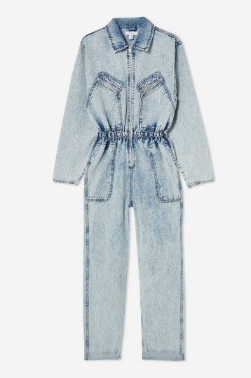 Topshop Acid Wash Zip Boiler Suit in Bleach Stone | light-blue denim gathered-waist jumpsuit - flipped