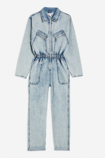 Topshop Acid Wash Zip Boiler Suit in Bleach Stone | light-blue denim gathered-waist jumpsuit
