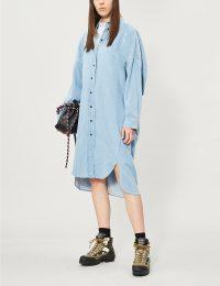 ACNE STUDIOS Dean loose-fit denim midi dress in mid blue ~ oversized shirt dresses