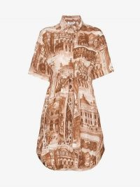 Acne Studios Theatre Print Belted Shirt Dress in Rust