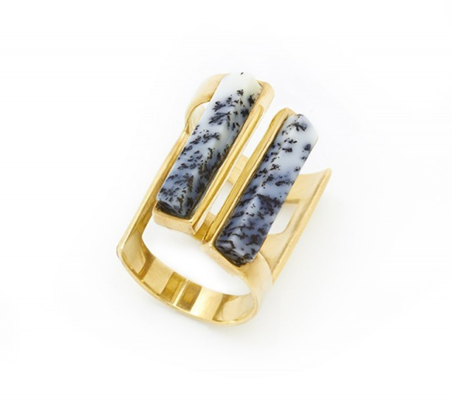 Contemporary style dendritic agate stone ring from stanmorenyc.com. Fashion jewellery | gemstone jewelry | stone of plenty
