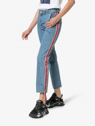 Ader Error Side Stripe Cropped Jeans ~ striped denim