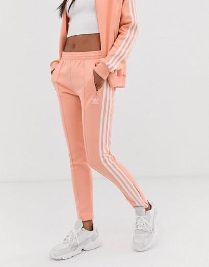 adidas Originals adicolor three stripe cigarette pant in pink – girly sports pants