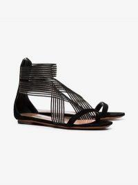 Alaïa Black Crossover Mesh Suede Flat Sandals / summer flats