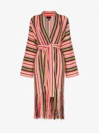 Alanui Baja Stripes Fringe Cardigan | longline boho cardigans