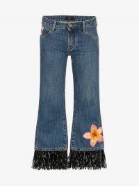 Alanui Hawaii Flower Embroidered Jeans / floral embellished denim