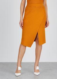 A.L.C. Flannery orange stretch-knit skirt | asymmetric wrap skirts