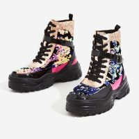 EGO Aleena Chunky Sole Lace Up Ankle Boot In Multi Colour ~ sequinned combat boots