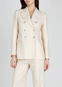 ALEXA CHUNG Ecru double-breasted bouclé blazer ~ neutral jackets with extra style