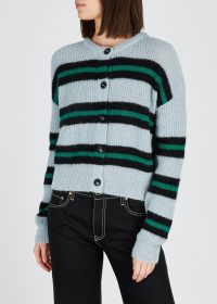 ALEXA CHUNG Striped wool-blend cardigan in pastel-blue