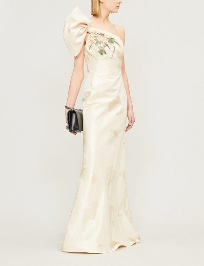 ALEXANDER MCQUEEN One-shoulder silk-jacquard gown in nacre / luxe floral gowns