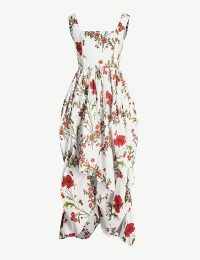 ALEXANDER MCQUEEN Poppy floral-pattern cotton-poplin midi dress in ivory mix ~ summer event wear ~ garden party clothing
