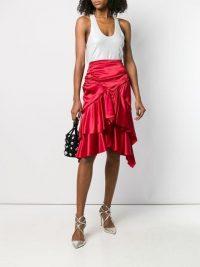 ALEXANDRE VAUTHIER red ruffled silk blend midi skirt