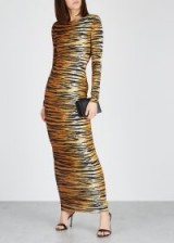 ALEXANDRE VAUTHIER Tiger-print stretch-jersey maxi dress / glamorous event wear