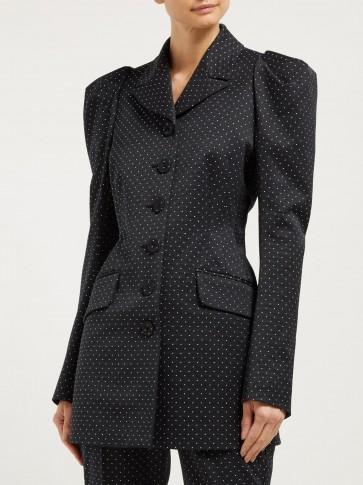 ERDEM Alfreda polka dot-jacquard cotton-blend blazer in black ~ fitted puff sleeved jackets