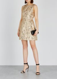ALICE + OLIVIA Lindsey sequinned mini dress | gold sequin structured fit and flare