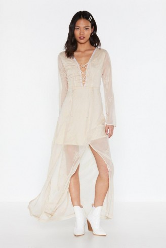 Nasty Gal All on Embroidered Lace-Up Maxi Dress in Cream – sheer overlay dresses